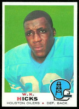 W.K. Hicks 1969 Topps football card