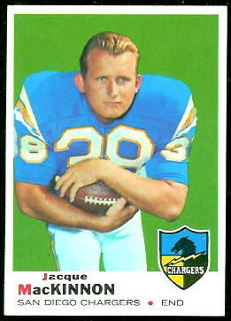 Jacque MacKinnon 1969 Topps football card
