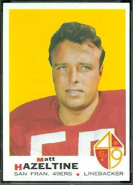 Matt Hazeltine 1969 Topps football card