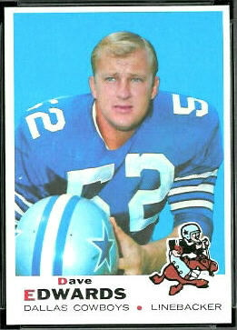 Dave Edwards 1969 Topps football card