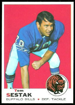 Tom Sestak 1969 Topps football card