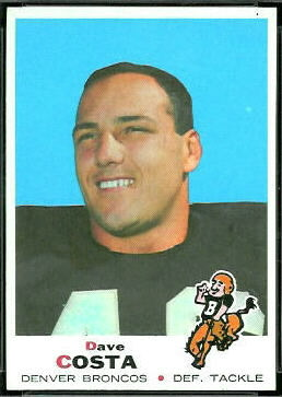 Dave Costa 1969 Topps football card