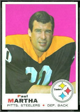 Paul Martha 1969 Topps football card