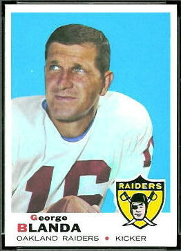 George Blanda 1969 Topps football card