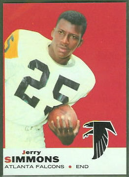 Jerry Simmons 1969 Topps football card