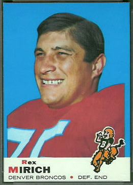 Rex Mirich 1969 Topps football card
