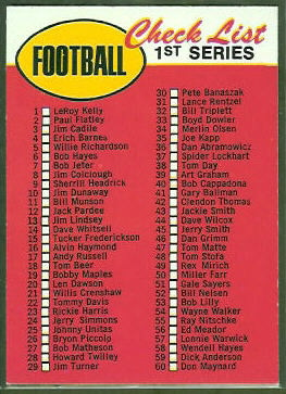 1st Series Checklist 1969 Topps football card