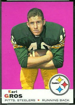 Earl Gros 1969 Topps football card