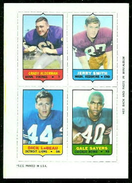 Grady Alderman, Jerry Smith, Dick LeBeau, Gale Sayers 1969 Topps 4-in-1 football card