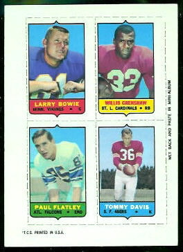 Larry Bowie, Willis Crenshaw, Paul Flatley, Tommy Davis 1969 Topps 4-in-1 football card