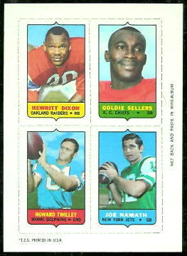 Hewritt Dixon, Goldie Sellers, Howard Twilley, Joe Namath 1969 Topps 4-in-1 football card