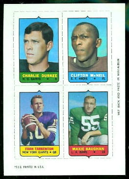 Charlie Durkee, Clifton McNeil, Fran Tarkenton, Maxie Baughan 1969 Topps 4-in-1 football card