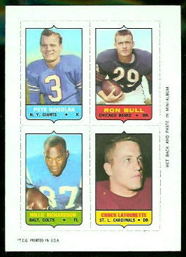 Pete Gogolak, Ron Bull, Willie Richardson, Chuck LaTourette 1969 Topps 4-in-1 football card