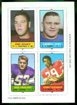 Jim Hart, Darrell Dess, Mick Tingelhoff, Kermit Alexander 1969 Topps 4-in-1 football card