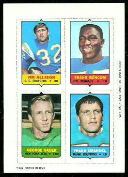 Jim Allison, Frank Buncom, George Sauer, Frank Emanuel 1969 Topps 4-in-1 football card