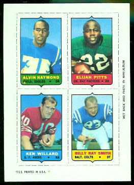 Alvin Haymond, Elijah Pitts, Ken Willard, Billy Ray Smith 1969 Topps 4-in-1 football card