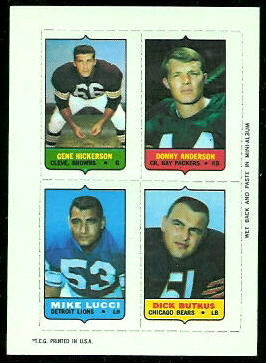 Gene Hickerson, Donny Anderson, Mike Lucci, Dick Butkus 1969 Topps 4-in-1 football card