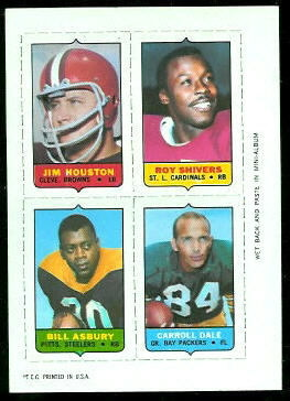Jim Houston, Roy Shivers, Bill Asbury, Carroll Dale 1969 Topps 4-in-1 football card