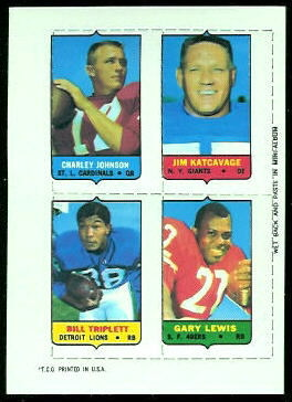 Charley Johnson, Jim Katcavage, Bill Triplett, Gary Lewis 1969 Topps 4-in-1 football card