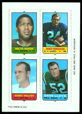 Walter Johnson, Tucker Frederickson, Bobby Walden, Dave Lloyd 1969 Topps 4-in-1 football card