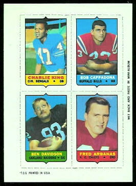 Charlie King, Bob Cappadona, Ben Davidson, Fred Arbanas 1969 Topps 4-in-1 football card