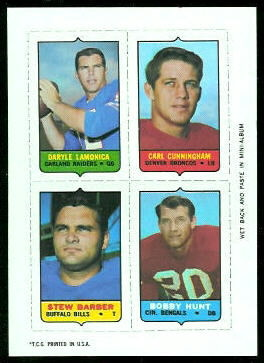 Daryle Lamonica, Carl Cunningham, Stew Barber, Jim Hunt 1969 Topps 4-in-1 football card