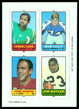 Israel Lang, Bob Lilly, John Brodie, Jim Butler 1969 Topps 4-in-1 football card