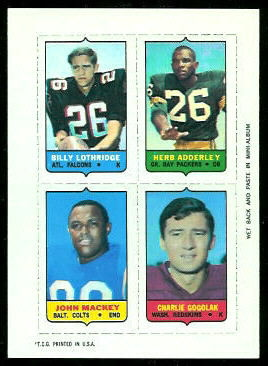 Billy Lothridge, Herb Adderley, John Mackey, Charlie Gogolak 1969 Topps 4-in-1 football card