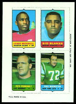Leroy Mitchell, Sid Blanks, Pete Perreault, Paul Rochester 1969 Topps 4-in-1 football card