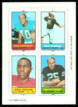 Dick Anderson, Mike Taliaferro, Otis Taylor, Fred Biletnikoff 1969 Topps 4-in-1 football card