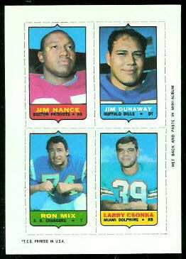 Jim Nance, Jim Dunaway, Ron Mix, Larry Csonka 1969 Topps 4-in-1 football card