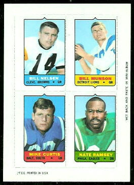 Bill Nelsen, Bill Munson, Mike Curtis, Nate Ramsey 1969 Topps 4-in-1 football card
