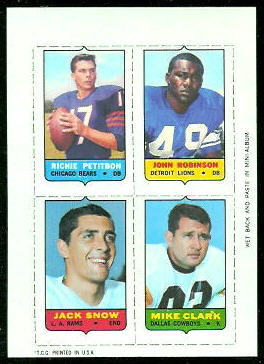 Richie Petitbon, John Robinson, Jack Snow, Mike Clark 1969 Topps 4-in-1 football card