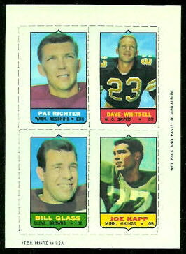Pat Richter, Dave Whitsell, Bill Glass, Joe Kapp 1969 Topps 4-in-1 football card