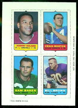 Johnny Roland, Craig Morton, Sam Baker, Bill Brown 1969 Topps 4-in-1 football card