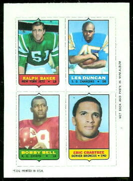 Ralph Baker, Les Duncan, Bobby Bell, Eric Crabtree 1969 Topps 4-in-1 football card