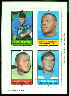 Tom Sestak, Ernie Wright, Matt Snell, Doug Moreau 1969 Topps 4-in-1 football card