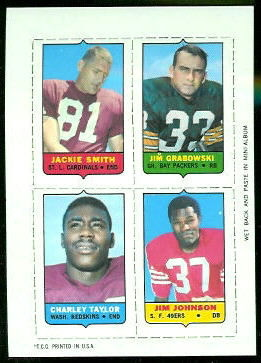 Jackie Smith, Jim Grabowski, Charley Taylor, Jim Johnson 1969 Topps 4-in-1 football card