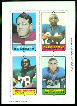 Larry Stallings, Roosevelt Taylor, Bob Brown, Jim Gibbons 1969 Topps 4-in-1 football card