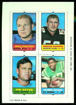 Mike Stratton, Marion Rushing, Jim Keyes, Solomon Brannan 1969 Topps 4-in-1 football card