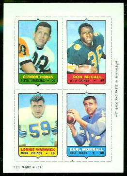 Clendon Thomas, Don McCall, Lonnie Warwick, Earl Morrall 1969 Topps 4-in-1 football card