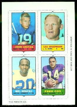 John Unitas, Les Josephson, Mel Renfro, Fred Cox 1969 Topps 4-in-1 football card