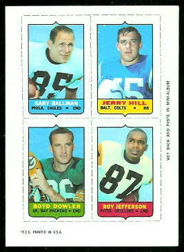 Gary Ballman, Jerry Hill, Boyd Dowler, Roy Jefferson 1969 Topps 4-in-1 football card