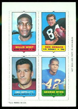 Willie West, Ken Herock, Gino Cappelletti, George Byrd 1969 Topps 4-in-1 football card