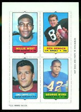 Willie West, Ken Herock, Gino Cappelletti, George Byrd 1969 Topps 4-in-1 football card