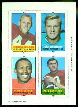 Jerrel Wilson, John Bramlett, Floyd Little, Pete Beathard 1969 Topps 4-in-1 football card