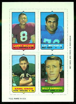 Larry Wilson, Lou Michaels, Earl Gros, Billy Gambrell 1969 Topps 4-in-1 football card
