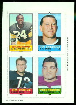 Willie Wood, Steve Stonebreaker, Jim Cadile, Vince Promuto 1969 Topps 4-in-1 football card