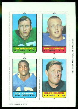 Tom Woodeshick, Greg Larson, Don Perkins, Bill Kilmer 1969 Topps 4-in-1 football card