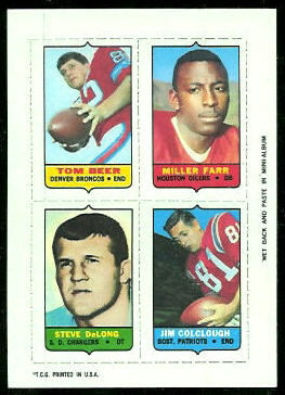 Tom Beer, Jim Colclough, Steve DeLong, Miller Farr 1969 Topps 4-in-1 football card